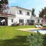 Perspective plan maison 3D, d'un Mas en Provence conçu par ART ET BASTIDES constructeur de maisons individuelles